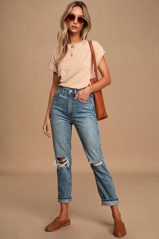 Stylish High Waist Jeans Outfit Ideas-10