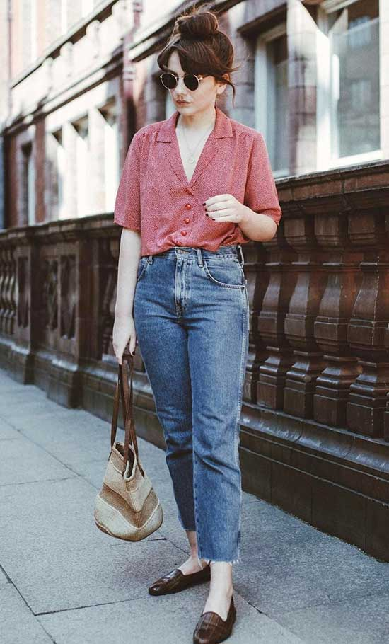 Vintage High Waist Jeans Outfit Ideas-11