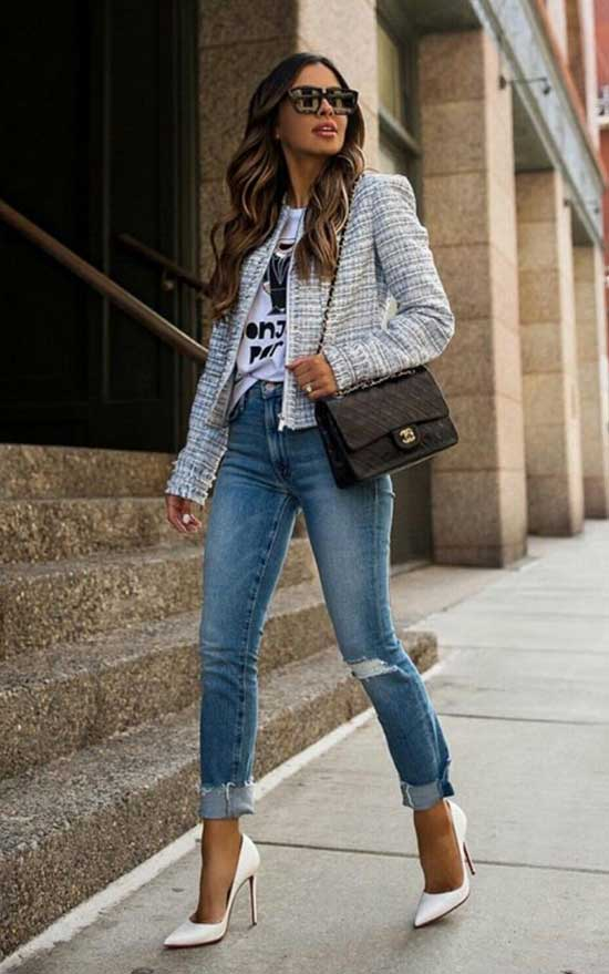 Casual High Waist Jeans Outfit Ideas-13