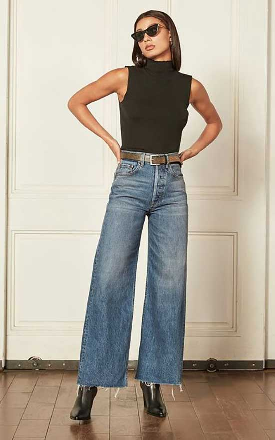 High Waist Wide Leg Jeans Outfit Ideas-15
