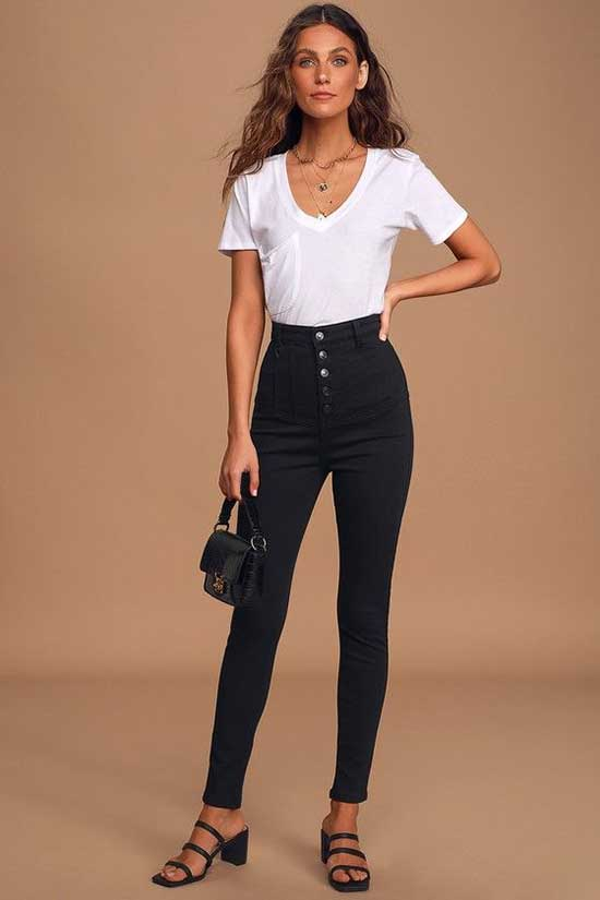 High Waist Jeans Outfit Ideas-22