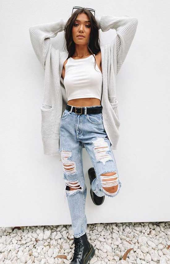 High Waist Ripped Jeans Outfit Ideas-9
