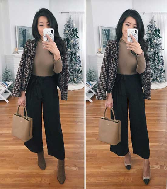 Winter Office Culottes Outfits for Women-11