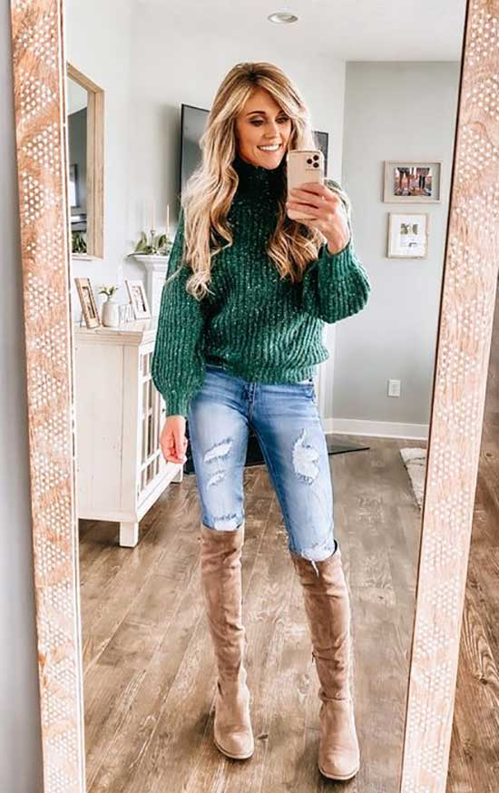 Cute Thanksgiving Outfits with High Boots-12