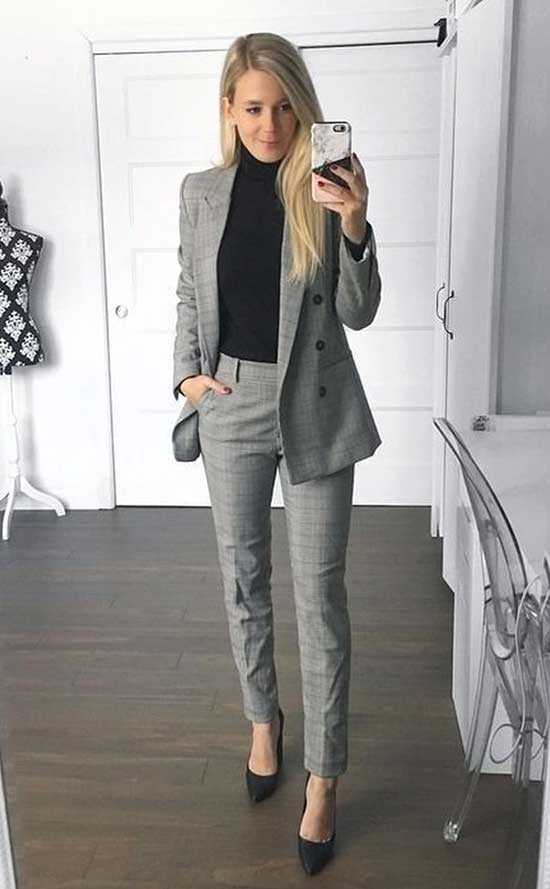 Winter Office Blazer Jacket Outfits for Women-6